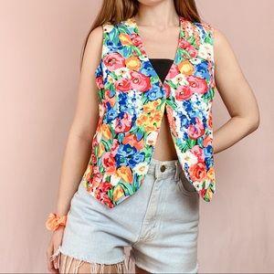 ⭐️ VINTAGE ⭐️ Bright Floral Button-less Vest